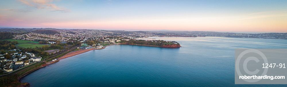 Aerial image of Tor Bay, Paignton, Devon, England, United Kingdom, Europe