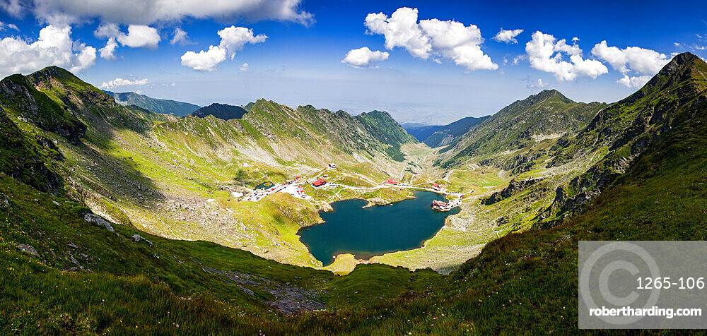 Elevated view over Balea Lake at 2034m altitude in the Fagaras Mountains in central Romania, Cartisoara, Sibiu County, Romania, Europe