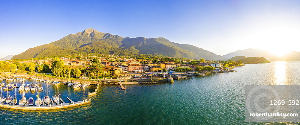 Panoramic aerial view of Colico village at sunset, Lake Como, Lombardy, Italian Lakes, Italy, Europe