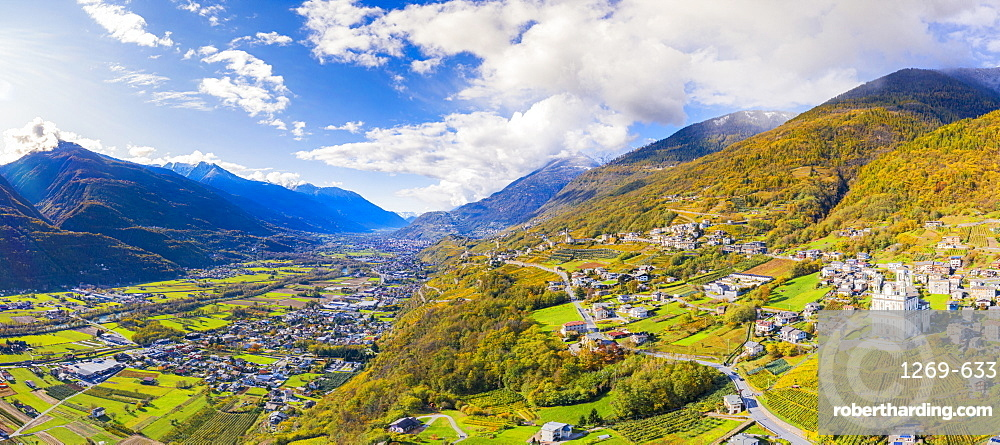 Aerial view by drone of Valtellina in autumn, Lombardy, Italy, Europe