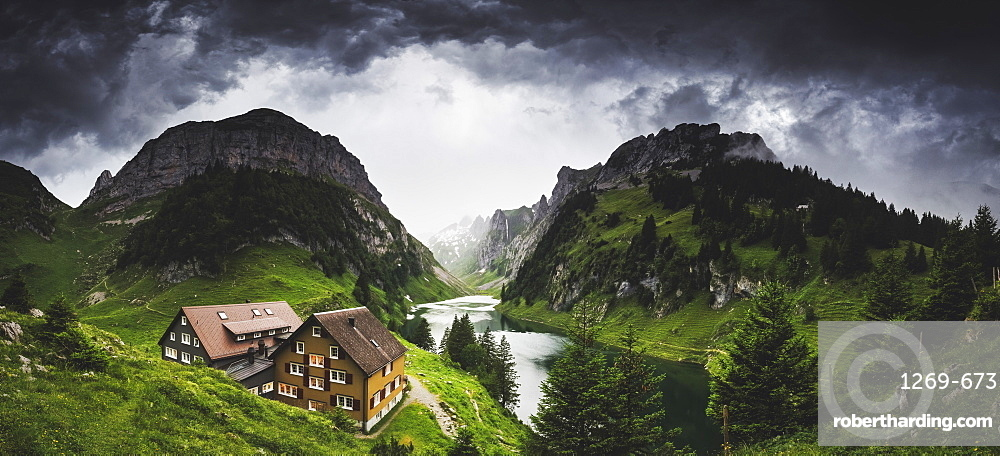 Thunderstorm coming at Bollenwees refuge, Canton of Appenzell, Alpstein, Switzerland, Europe