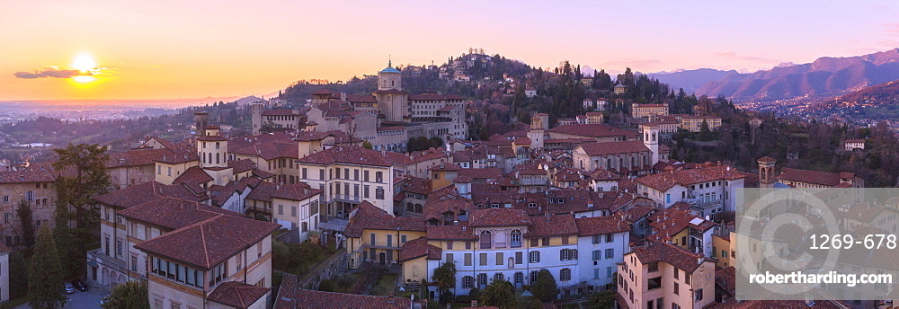 San Vigilio hill with historic center of Upper Town from above during sunset, Bergamo, Lombardy, Italy, Europe