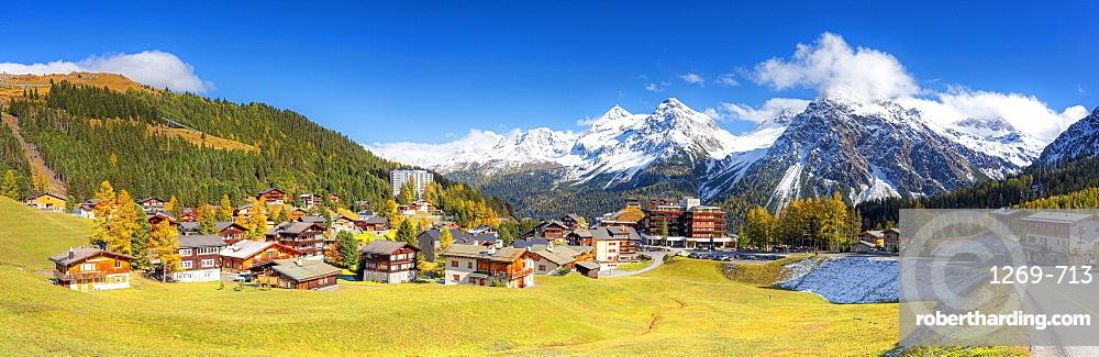 Panoramic view of Arosa, Canton Graubunden, Switzerland, Europe
