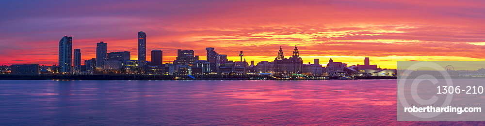 Panoramic view of The Liverpool waterfront with amazing sunrise, Liverpool, Merseyside, England, United Kingdom, Europe