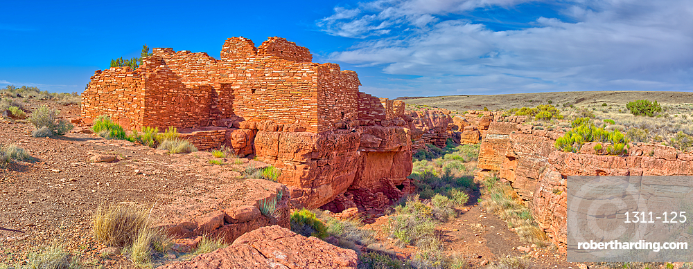 Panorama of the Lomaki Pueblo at the Wupatki National Monument, Arizona, United States of America, North America