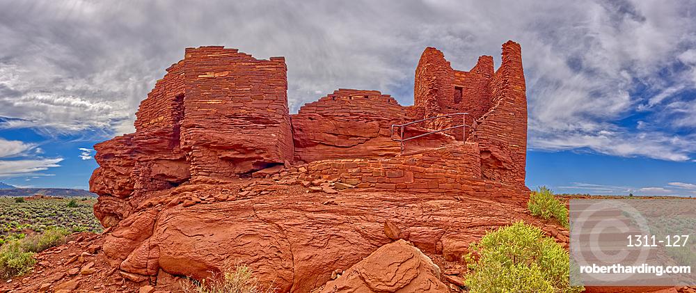 A low angle exterior closeup view of the Wukoki Pueblo at the Wupatki National Monument, Arizona, United States of America, North America