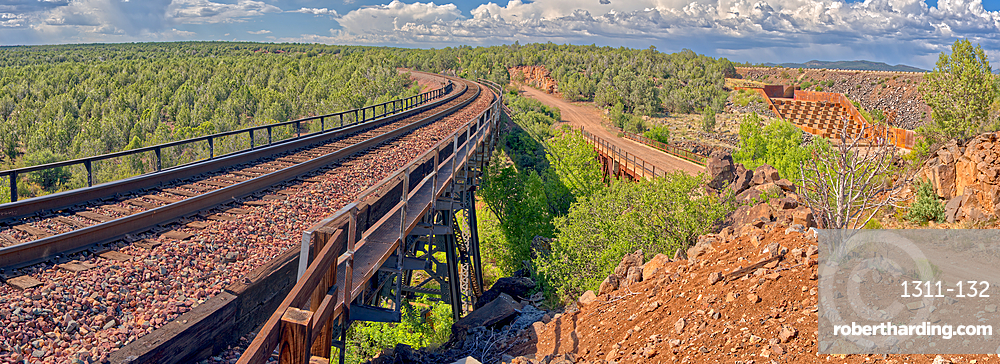 Super Panorama of a spillway and railroad bridge over Hell's Canyon near Drake, Arizona, United States of America, North America
