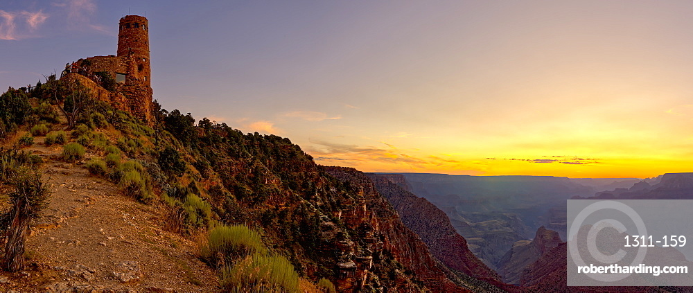 Watch Tower on the South Rim of the Grand Canyon at sundown, Grand Canyon National Park, UNESCO World Heritage Site, Arizona, United States of America, North America