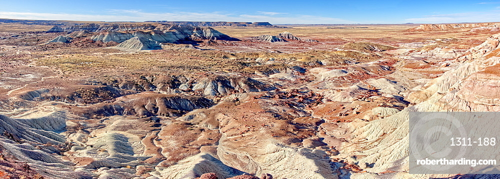 Panorama view of the Petrified Forest National Park from the First Forest Trail, Arizona, United States of America, North America