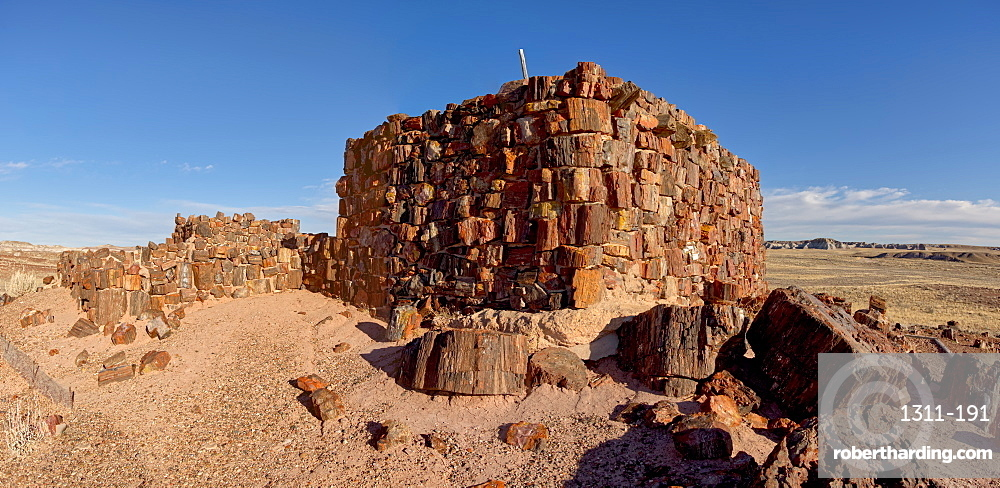 An Indian dwelling in Petrified Forest National Park called the Agate House, built between 1030AD and 1300AD, Arizona, United States of America, North America
