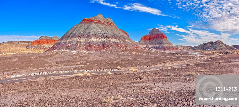Huge formations of Bentonite Clay called the Teepees in the Petrified Forest National Park, Arizona, United States of America, North America