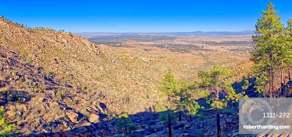 North view from the saddle of Granite Mountain in the Prescott National Forest of Arizona.
