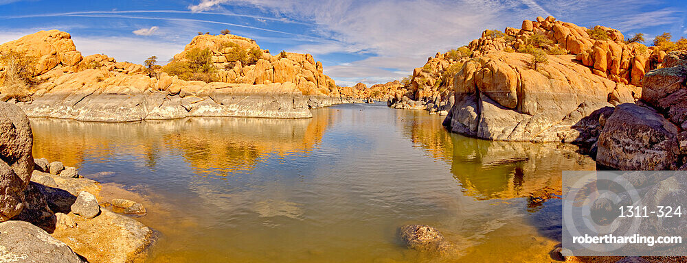Rocky lagoon in Watson Lake along Lakeshore Trail, gray rock shows how much water volume was lost due to the drought, Arizona, United States of America, North America