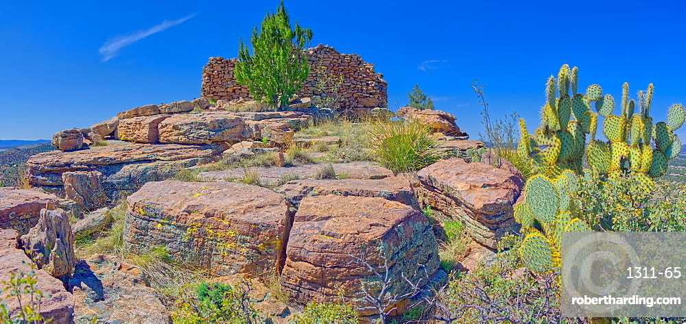 Ancient Indian ruins resembling an old fortress on top Sullivan Butte in Chino Valley, Arizona, United States of America, North America