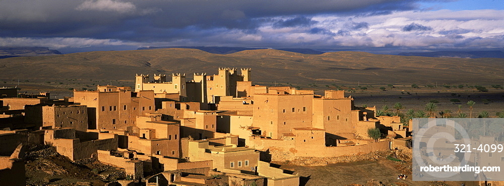 Kasbah bathed in storm light, Nkob, Morocco, North Africa, Africa