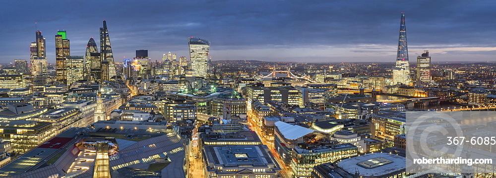 City panorama at dusk, London, England, United Kingdom, Europe