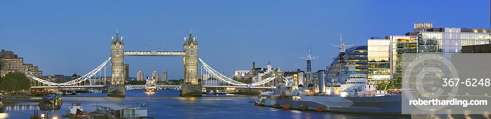 Panorama with Tower Bridge and HMS Belfast, London, England, United Kingdom, Europe