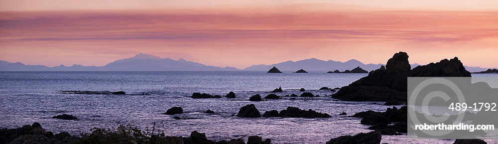 View of Kaikoura Ranges from Wellington at sunset in New Zealand, Oceania