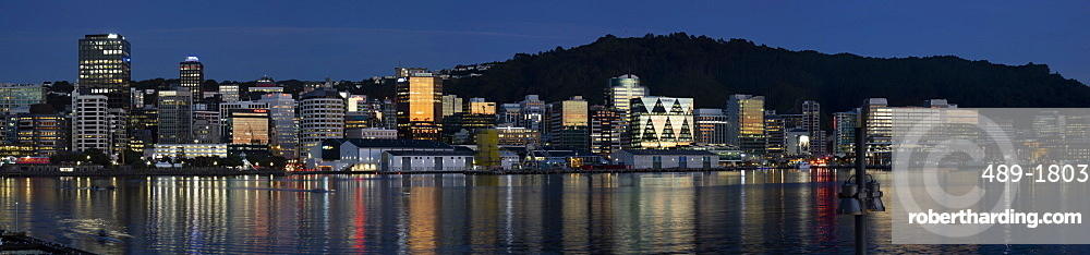Panorama of Wellington city and waterfront at dawn, Wellington, North Island, New Zealand, Pacific