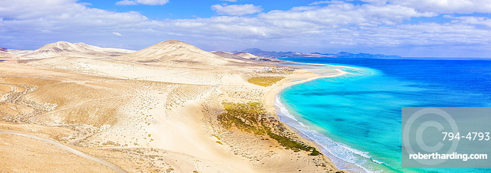 Spain, Canary Islands, Fuerteventura, Jandia Peninsula, Risco del Paso, Playas de Sotavento and Laguna de Sotavento