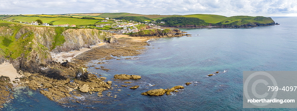 Aerial panoramic vista of Hope Cove in the South Hams, Devon, England, United Kingdom, Europe
