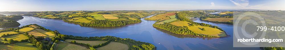 Early morning aerial panoramic of the River Dart estuary, Stoke Gabriel, South Hams, Devon, England, United Kingdom, Europe