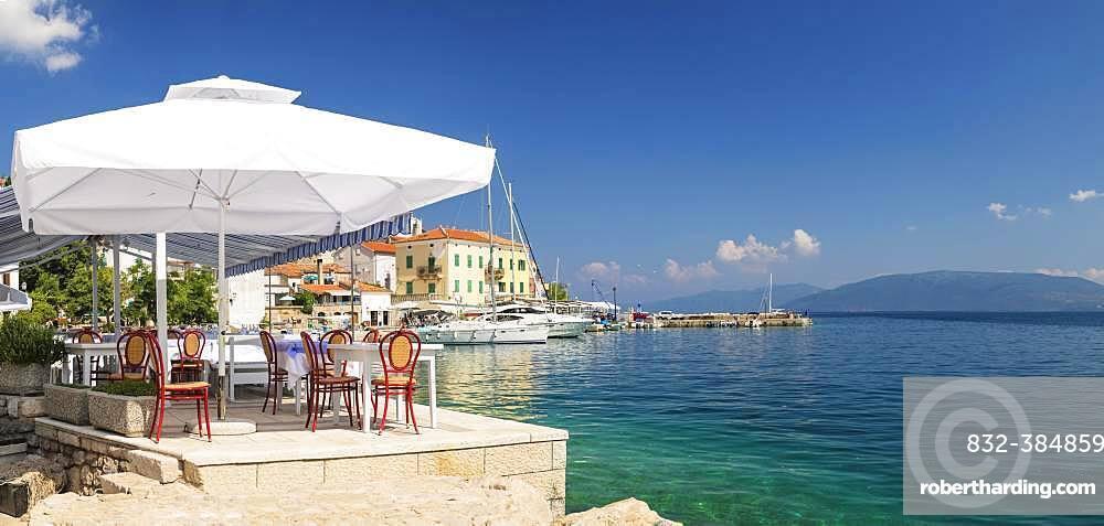 Restaurant by the sea, Valun, Cres Island, Kvarner Gulf Bay, Croatia, Europe