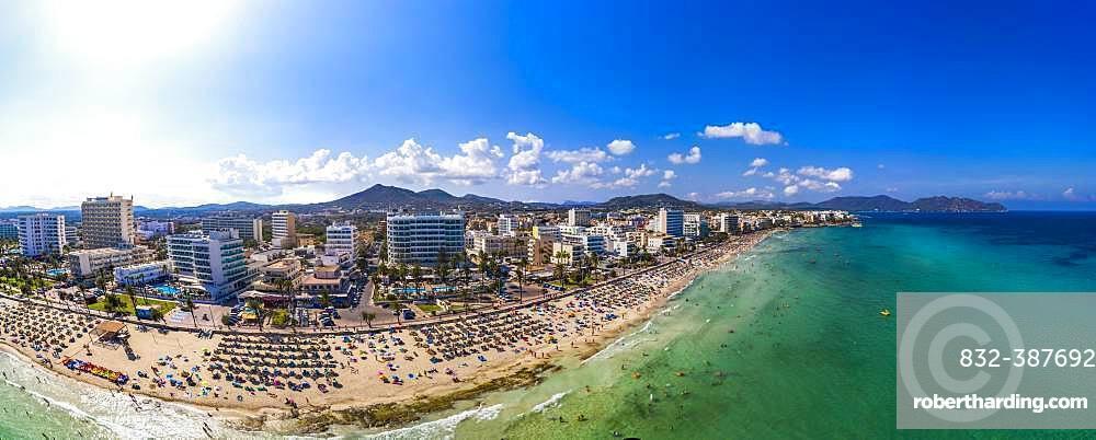 Aerial view, bathing bay of Cala Millor and Cala Bona, region Llevant, Majorca, Ballearen, Spain, Europe
