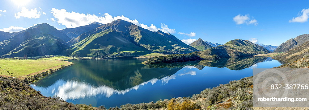 Panorama, mountains reflected in a lake, Moke Lake near Queenstown, Otago, South Island, New Zealand, Oceania