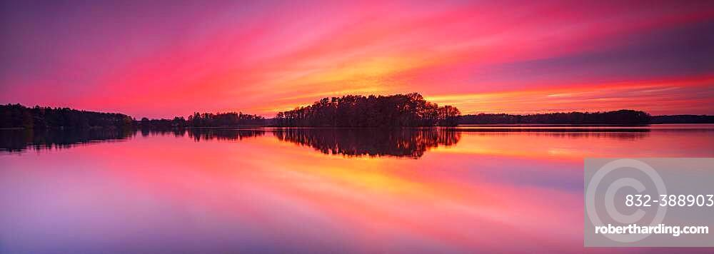 Sunset at the Great Lychen Lake, Lychen, Brandenburg, Germany, Europe