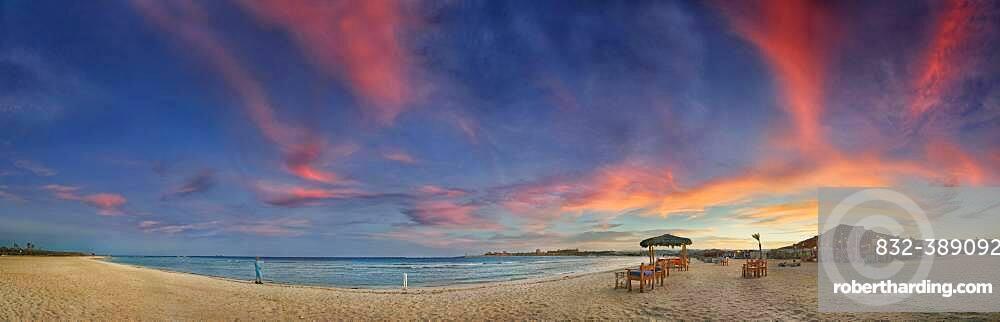 Sandy beach beach and coral reef Abu-Dabbab at sunset, Hilton Nubian Resort, Al Qusair, Marsa Alam, Egypt, Africa