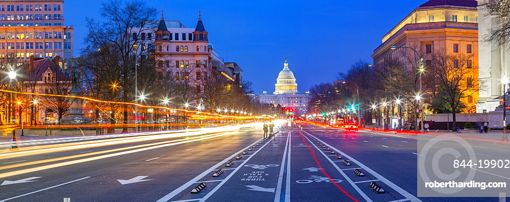 View of the Capitol Building at dusk from Pennsylvania Avenue, Washington D.C., United States of America, North America