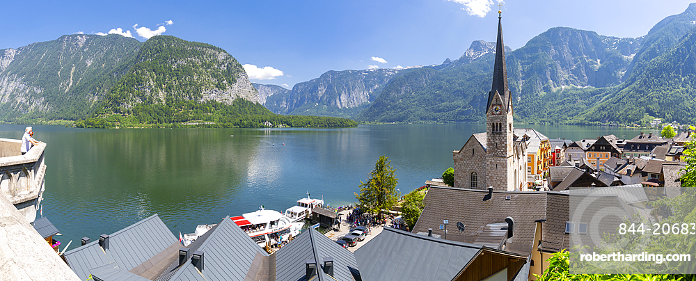Elevated view of Hallstatt village, UNESCO World Heritage Site, Salzkammergut region of the Alps, Salzburg, Austria, Europe