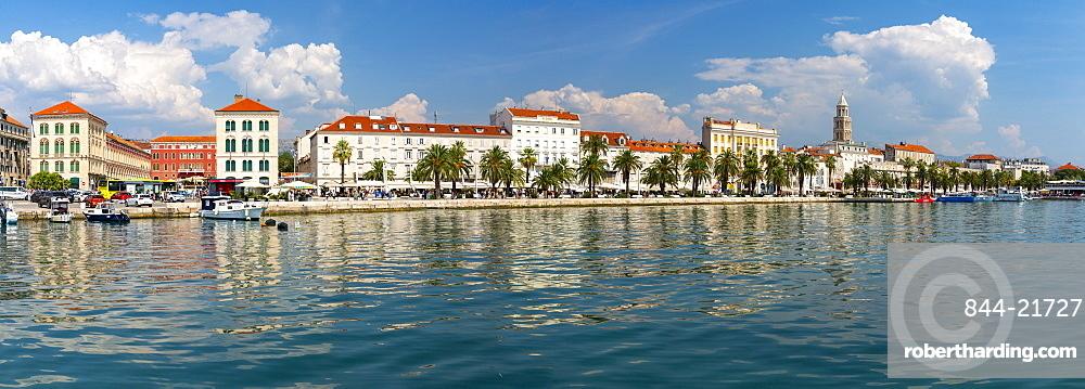 Panoramic view of Split Harbour and Cathedral of Saint Domnius, Split, Dalmatian Coast, Croatia, Europe