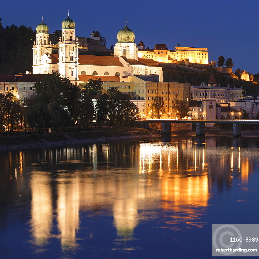 St. Stephen's Cathedral at night in Passau, Germany, Europe