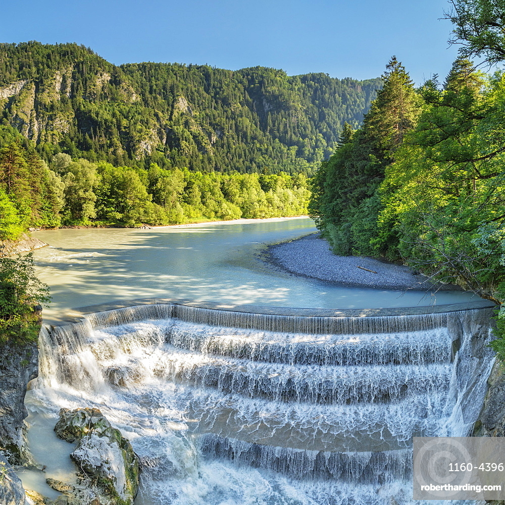 Lech River Waterfall, Fussen, Allgau, Schwaben, Bavaria, Germany, Europe
