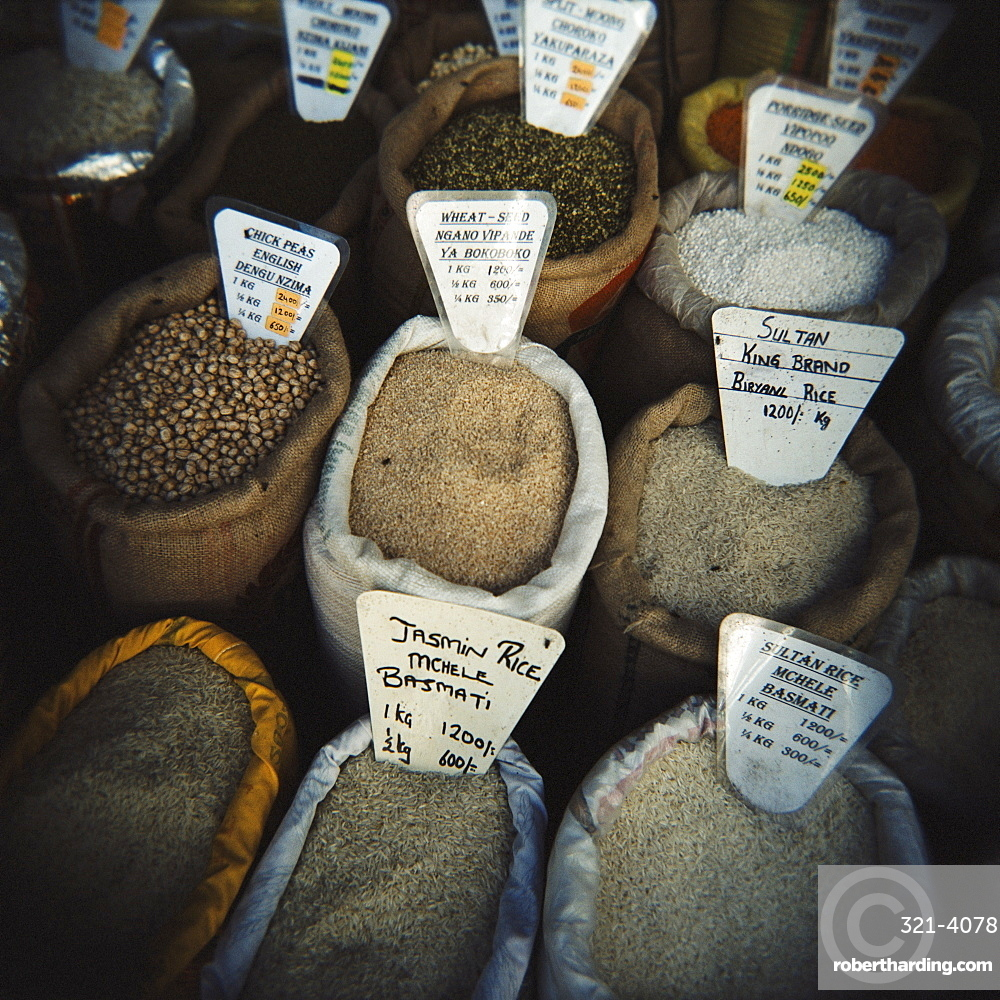 Bags of spices for sale in the market, Stone Town, Zanzibar, Tanzania, East Africa, Africa