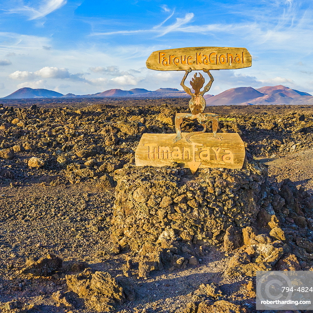 Spain, Canary Islands, Lanzarote, Timanfaya National Park, National Park entrance sign