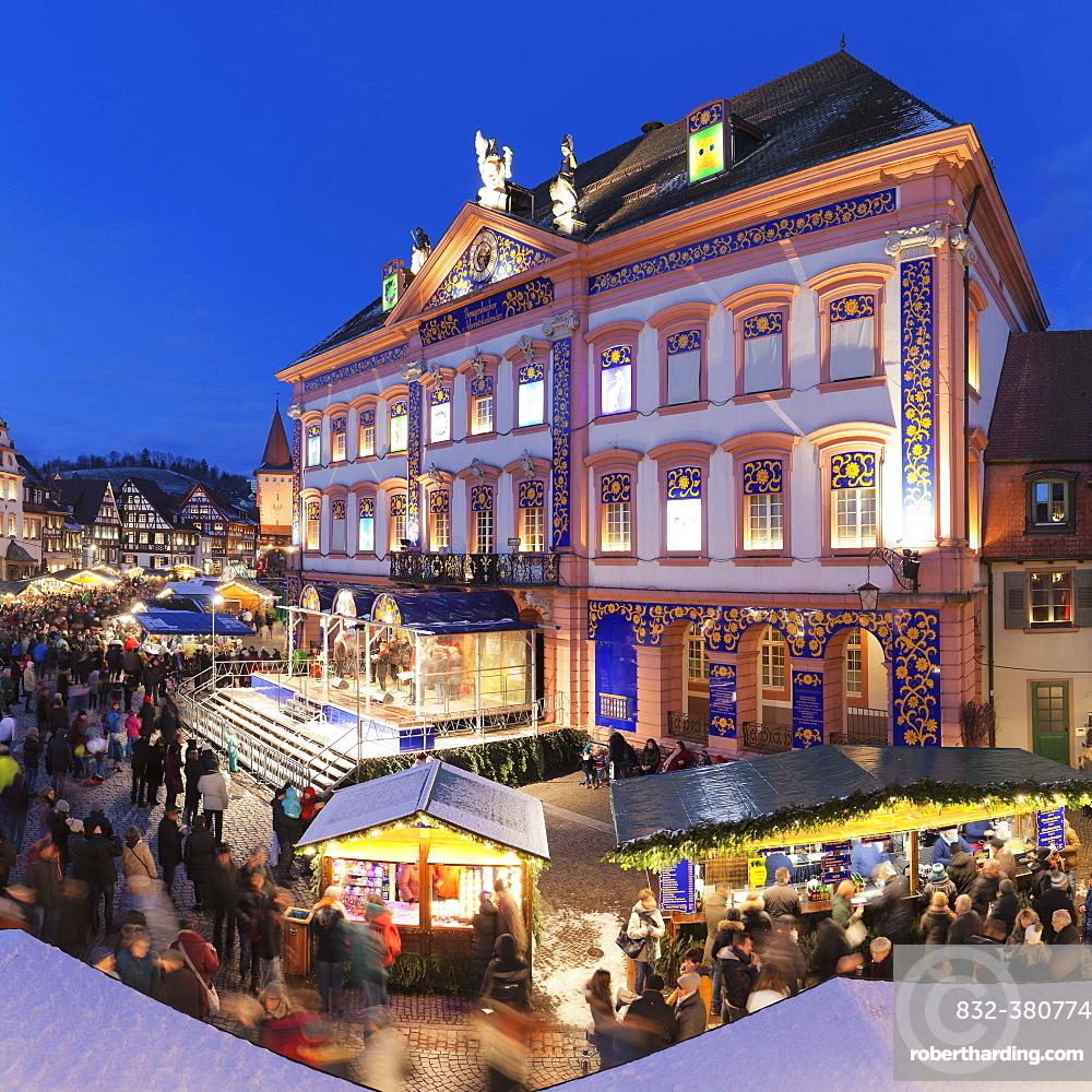 Christmas Market, dusk, Gengenbach, Black Forest, Baden-Württemberg, Germany, Europe