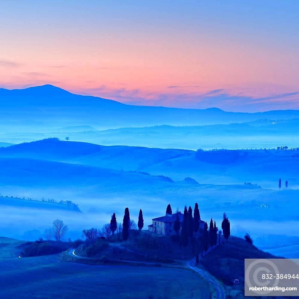 Morning atmosphere in Tuscany, hilly landscape with fog at dawn, Country house Belvedere, Val d'Orcia, Tuscany, Italy, Europe