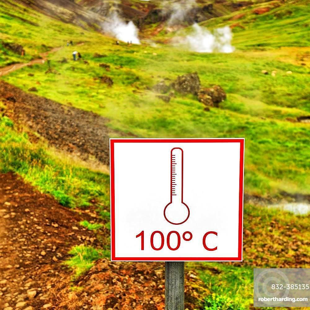 Shield, 100 degrees Celsius, warns of boiling hot water, geothermal area Reykjadalur, Hverageroi, Hveragerdi, Iceland, Europe