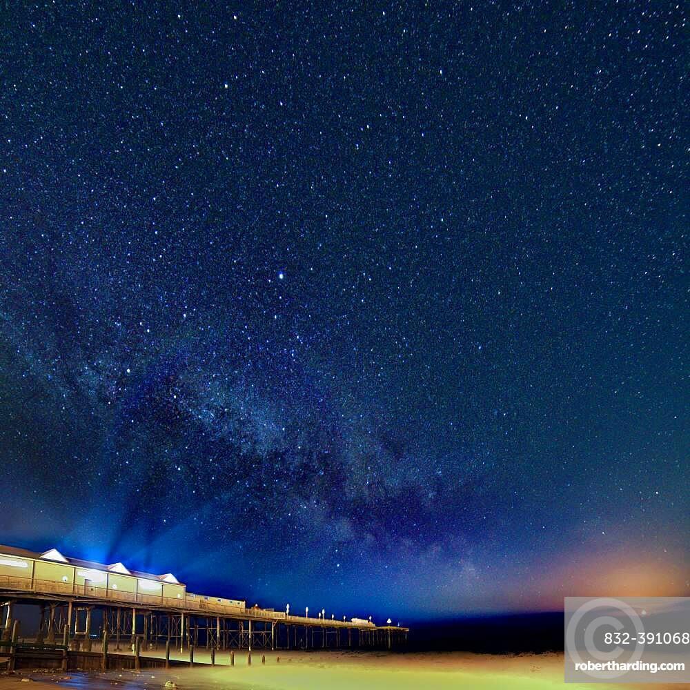 Milky Way over Grand Pier in Teignmouth, Devon, England, United Kingdom, Europe