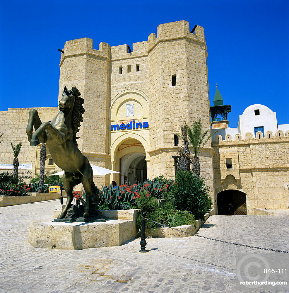 Gateway entrance of the Medina shopping and restaurant complex, Yasmine Hammamet, Cap Bon, Tunisia, North Africa, Africa
