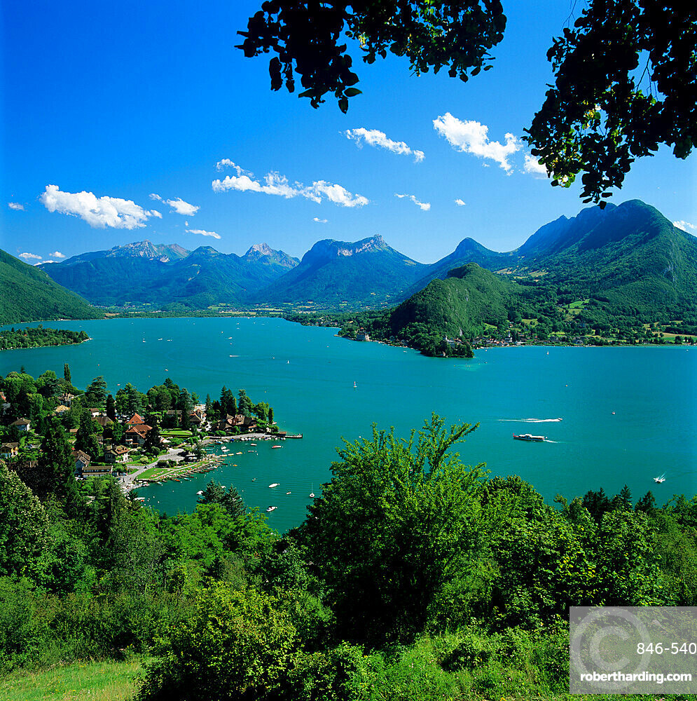 View over village and Lake Annecy, Talloires, Lake Annecy, Rhone Alpes, France, Europe