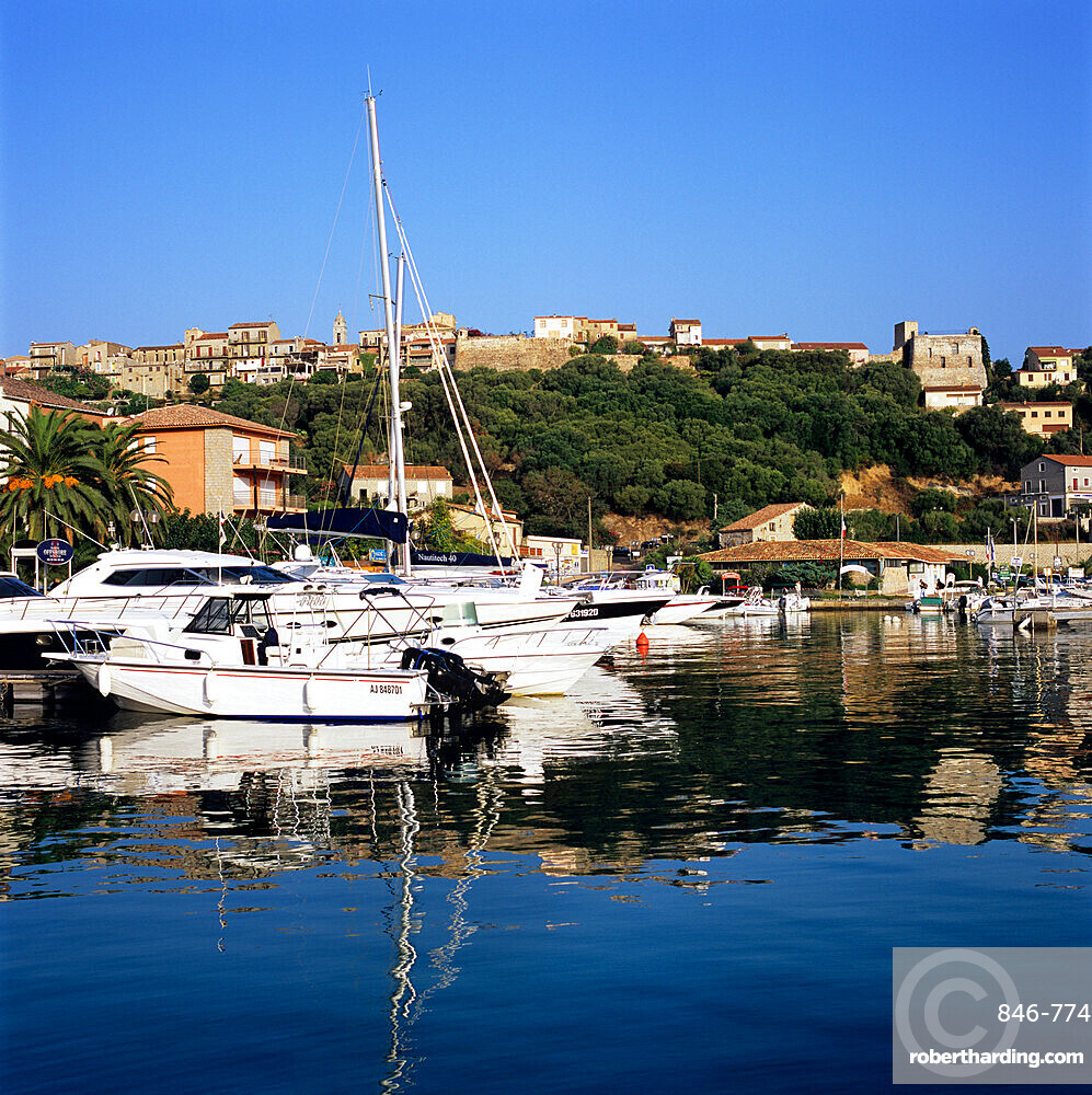 View over harbour to the old town, Porto Vecchio, Corsica, France, Mediterranean, Europe