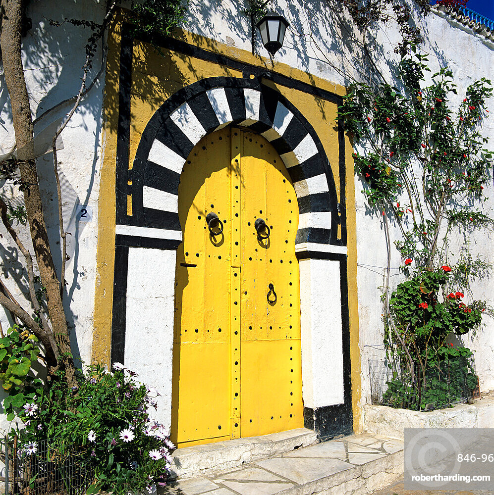 Traditional Tunisian doorway, Sidi Bou Said, Tunisia, North Africa, Africa