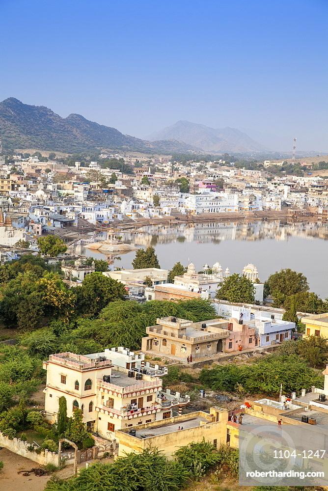 Aerial view of Pushkar, Rajasthan, India, Asia