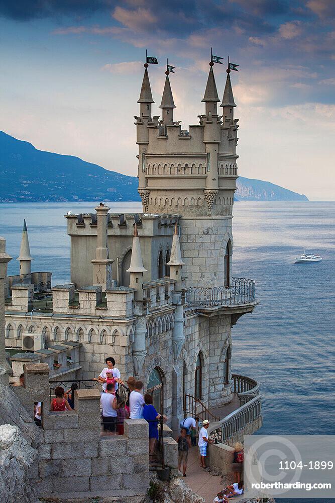 Ukraine, Crimea, Yalta, The Swallow's Nest castle perched on Aurora Clff