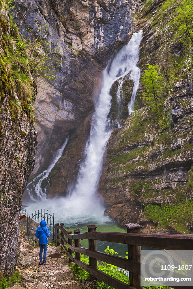 Tourist at Savica Waterfall near Lake Bohinj, Triglav National Park, Julian Alps, Slovenia, Europe