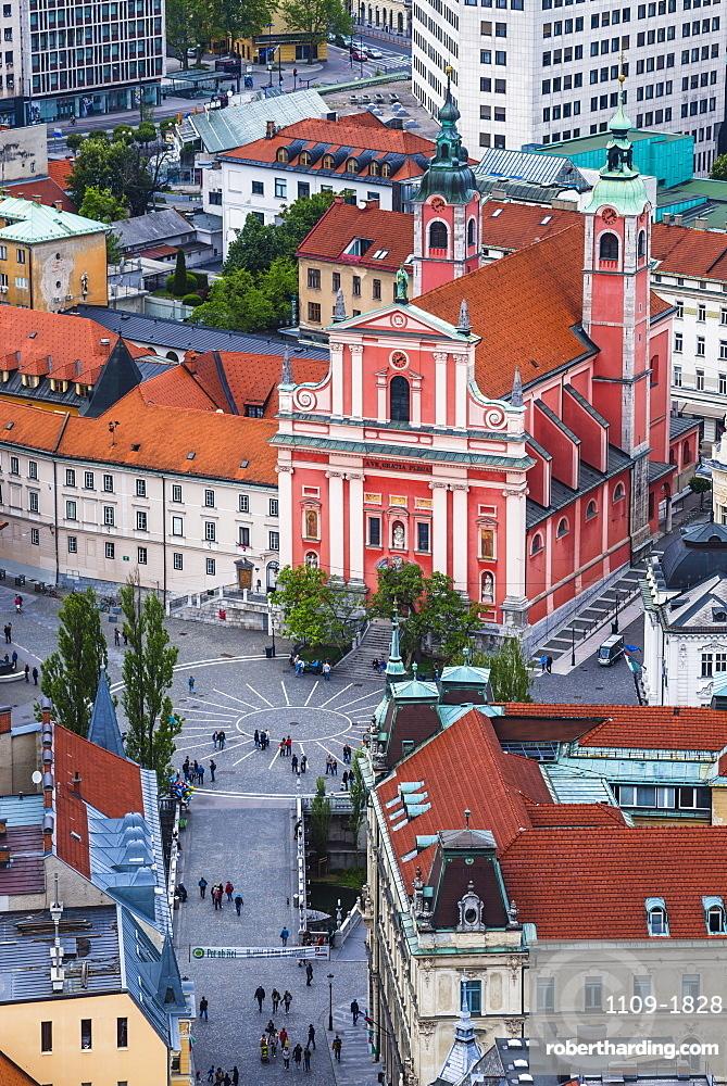 Franciscan Church of the Annunciation, across the Triple Bridge in Preseren Square, seen from Ljubljana Castle, Slovenia, Europe